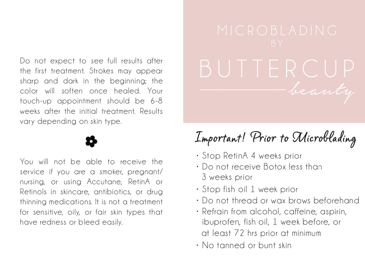 Before & Aftercare Microblading Instructions | Buttercup Beauty